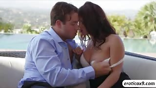 Brunette slut Keisha Grey gobbles a big stiff cock