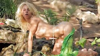 Amazing wow girl strip in a forest