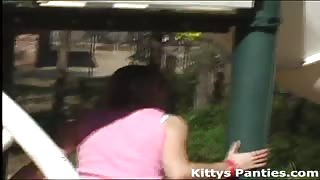 Kitty flashing her pink panties at the park