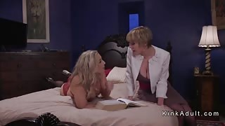Lesbian girlfriends anal toying and banging
