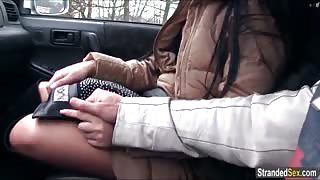 Teen Anna finds a ride and blowjob