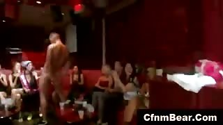 Horny CFNM babes sucking stripper cock at a party