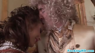 Baroque loving glam euro sluts share cock in ass