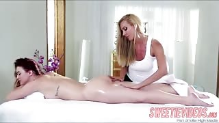 RedHead lesbians Karlie and Sandy in a hot lesbian spa sex