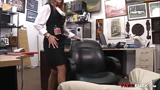 Hot card dealer fucked by horny pawn man in the backroom