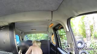 Huge boobs blonde anal banged in London fake taxi