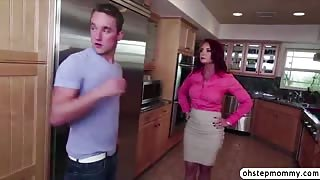 Busty milf stepmom Janet gets caught in a hot threesome sex