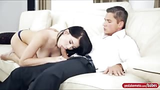 Lustful babe Lucy Li nailed on the couch