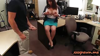 Big boobs milf pawns pussy to earn money for her hubby
