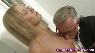 Sexy ass babe sucks old guys dick