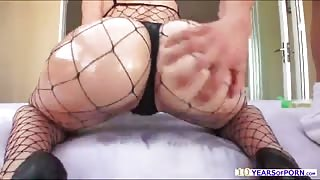 Mandy teases the camera and oils her ass and gets hardcore assfucking