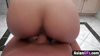 Asian girlfriend takes long cock in bathroom
