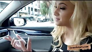 Slutty amateur blonde teen babe Uma Jolie banged in the car