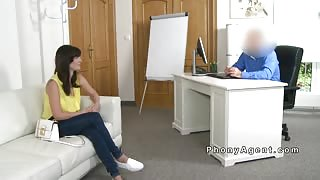 Fake agent bangs brunette in his office