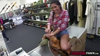A hot cowgirl Lexie Banderas rides a huge dick for cash