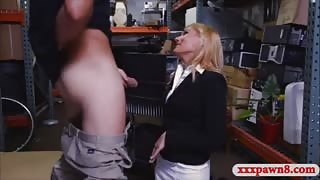 Hot blonde milf banged at the pawnshop to earn extra money