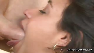 Latina gaggs on cock
