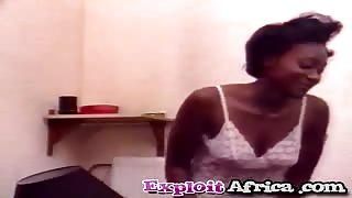 Ebony debutante from Africa gets tight snatch exploited by two hard dicks