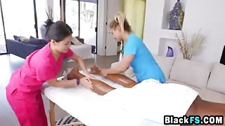 Amazing Asian massage leads to great threesome with black stud