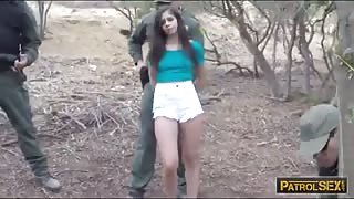 Border hopping latina slut got caught by BP and gets pounded