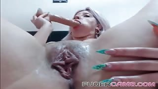 Blonde girl and her sex toys