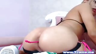 Cute Blonde Tranny Plays with Her Sweet Little Hole