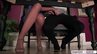 Amirahs stepdad catches her giving her bf a hand job under the table