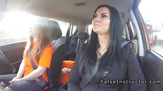 Busty babes threesome in driving school car