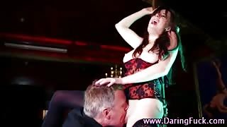 Stripper babe gets licked