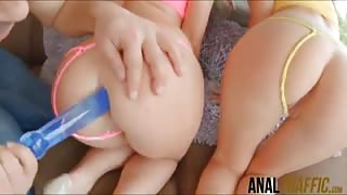Identical assed Anita Bellini and Jessyka Swan anal pounded