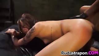 Kendra Cole brutally strapon fucked by horny blonde mistress