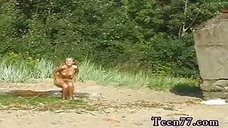 Group sex party blonde Linda  gets nude on the beach