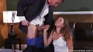 Rebellious Brunette Allie Haze Enjoys Sucking & Fucking