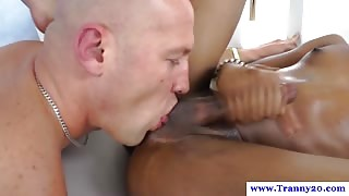 Ebony tranny getting her ass licked out