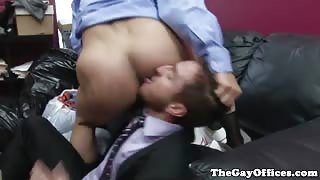 Office muscled hunk sucks cock then gets drilled