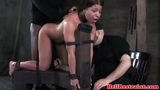 Pussyfucked sub gets pussy spanked