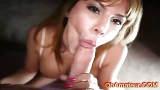 Sexy young blonde loves sucking cock