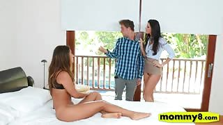 India Summer and Eva Lovia amazing 3way sex on the bed