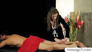Sexy masseuse Penny Brooks gets her twat boned by her client