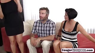 Cougars use mouths and cunts to please big dick