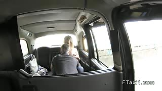 Petite busty blonde bangs in fake taxi