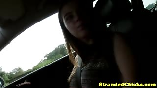 Real big titted stranded russian teen tit fucks driver