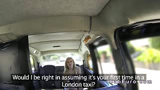 Canadian blonde banged in British fake taxi