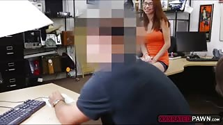 Cute girl comes at the pawnshop and gets stripped and fucked
