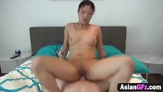 Horny amateur dude films an amazing sex action with his hot Asian girlfriend