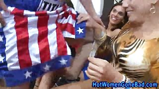 Clothed amateurs blow strippers