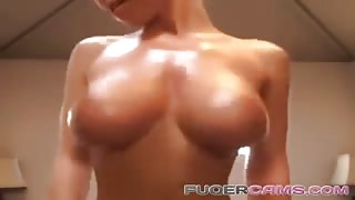 Huge fake tits on a thin body