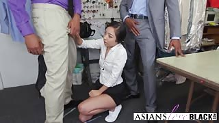 Rough interracial fucking with two BBC's and petite Asian