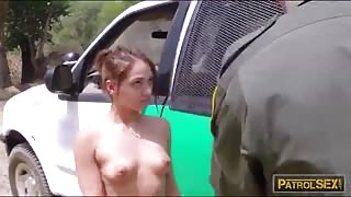 Brunette sneaky stripper fucked by horny border patrol agent
