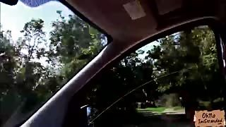 Hot babe Felicia Kiss gets nasty in the back seat